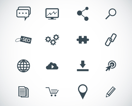 press release: black  seo icons set Illustration
