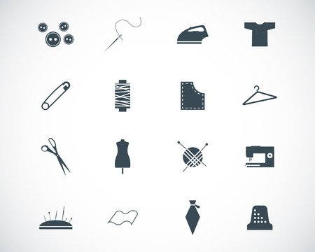 black  sewing icons set Stock Vector - 22577252