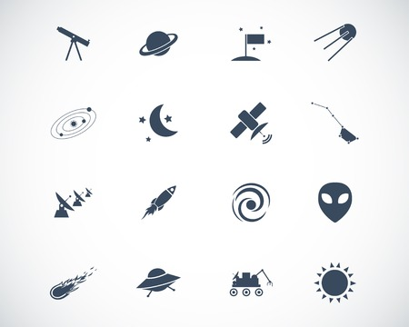 black  space icons set Stock Vector - 22577255