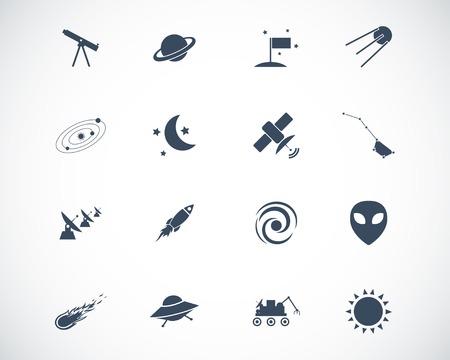 astronautics: black  space icons set