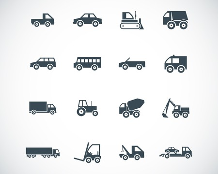 black  vehicle icons set Stock Vector - 22577261
