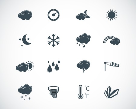 winter night: black weather icons set