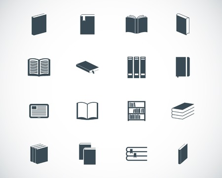 book reader: black  book  icons set