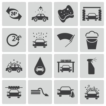 auto washing: black  car wash  icons set