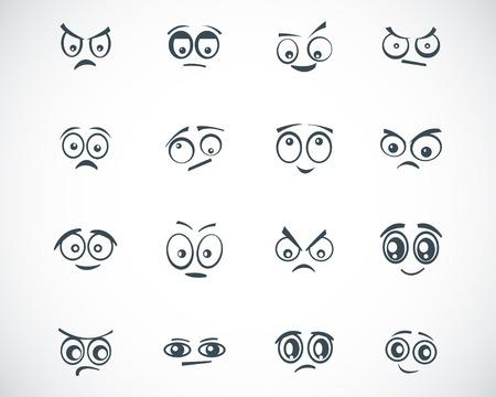sad face: black  cartoon  eyes  set