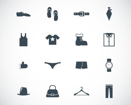 black  clothes  icons set Vector