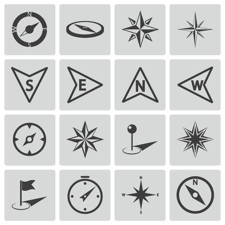 wind rose: black compass icons set