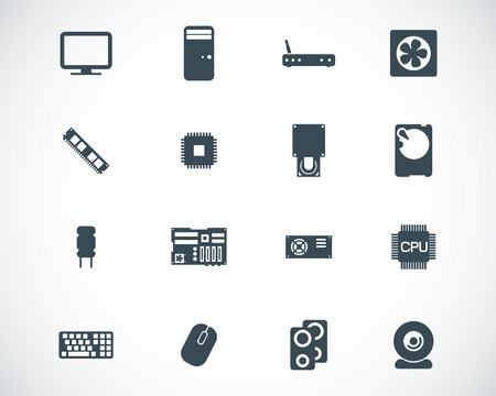 black  PC components  icons set Stock Vector - 22811423