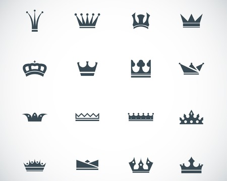queen: black  crown  icons set Illustration