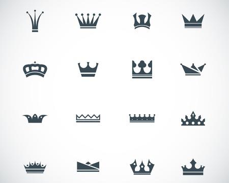corona reina: iconos de la corona negro Conjunto Vectores