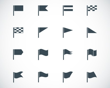 black flag icons set Ilustracja