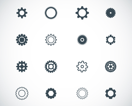 black  gears  icons set Stock Vector - 22811290