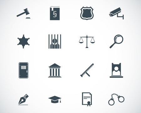 prosecutor: nere giustizia icone set