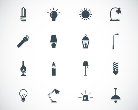 electric torch: black light icons set