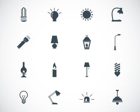 electric torch: black light icons set