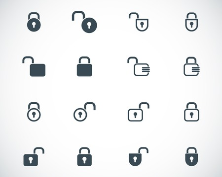 code lock: black  lock  icons set Illustration