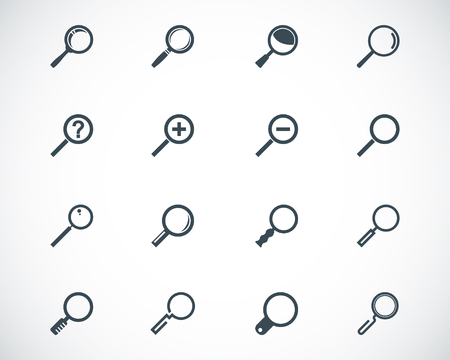 glass reflection: black  magnifying glass  icons set
