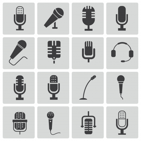 black  microphone  icons set