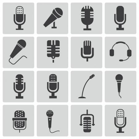 microfono antiguo: iconos micr�fono negro conjunto