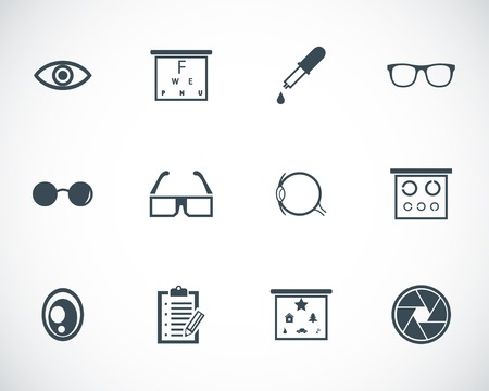 eye exams: black  optometry  icons set Illustration