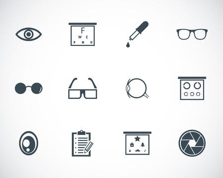 optometry: black  optometry  icons set Illustration
