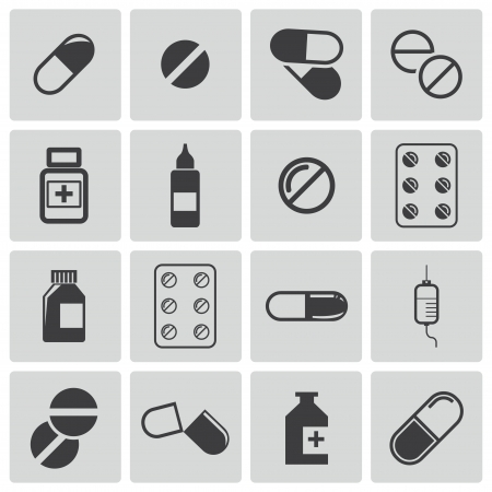 bottle of medicine: black pills icon set