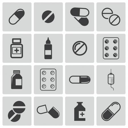 drogadiccion: pastillas negro conjunto de iconos