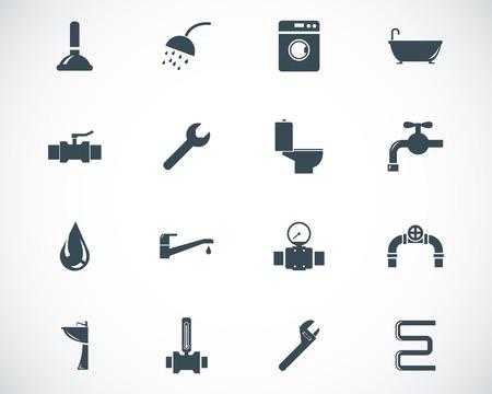 pipe wrench: black  plumbing  icons set Illustration