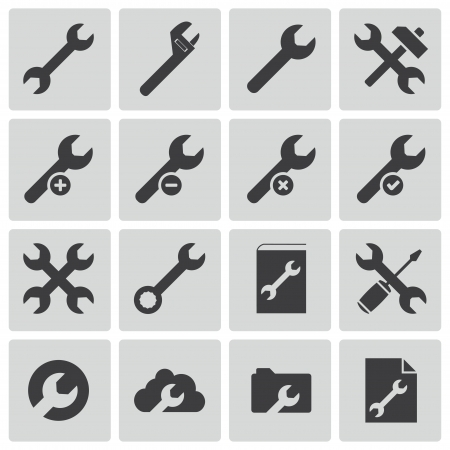 black  settings wrench   icons set Stock Vector - 22811304