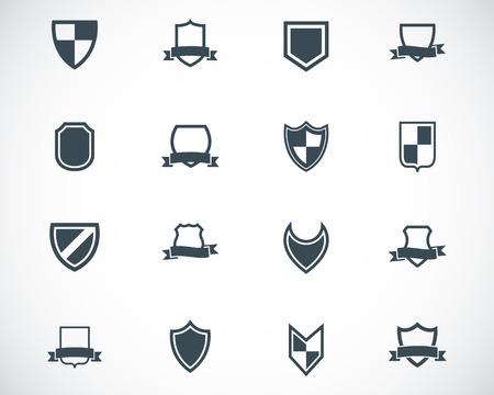black icon shield icons set Stock Vector - 22811143