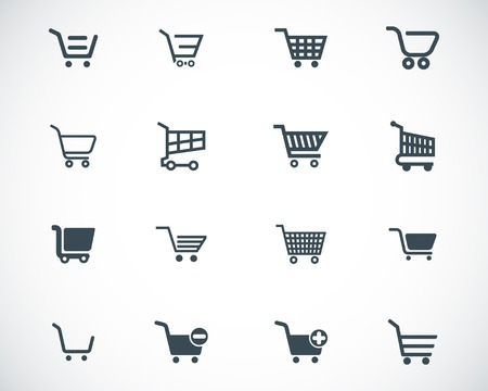 merchant: black  shopping cart  icons set