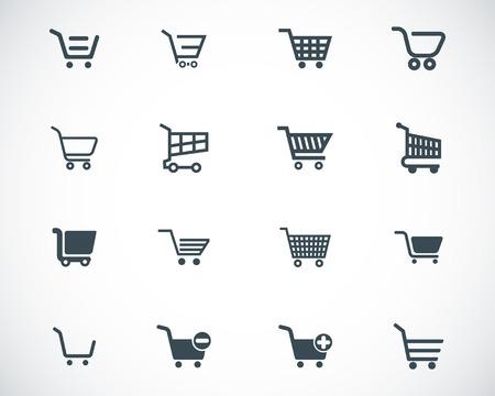negozio: commerciali nero carrello Set di icone Vettoriali
