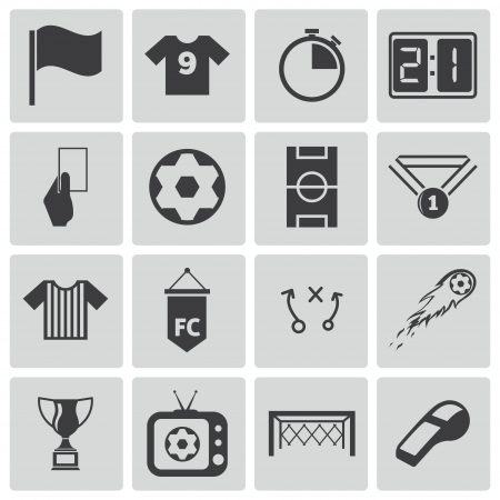 computer clubs: black  soccer  icons set