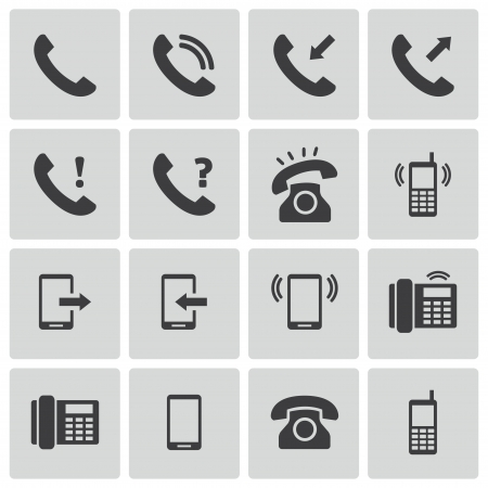 old office: black telephone icons set