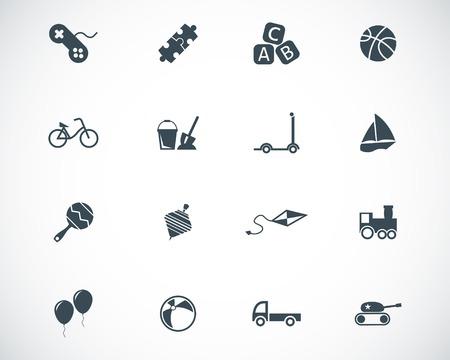 toy block: black  toys  icons set Illustration