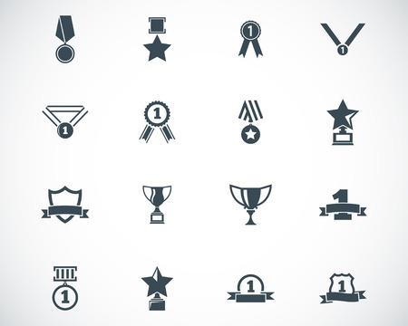 silver medal: black  trophy and  awards  icons set Illustration