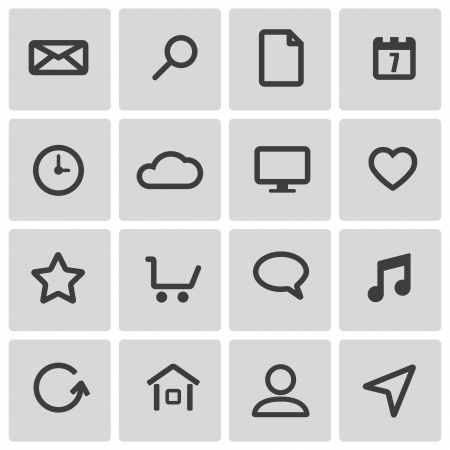 black  universal  icons set Vector