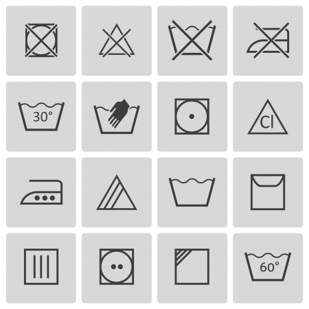 design symbols: black  washing    icons set Illustration