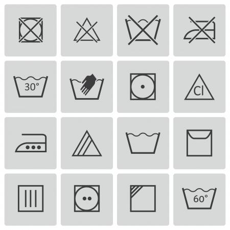 zwart wassen pictogrammen instellen