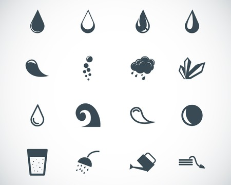 black water icons set Stock Vector - 22811157