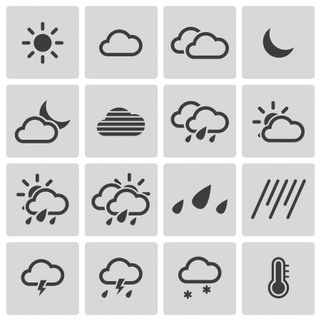 black  weather   icons set Stock Vector - 22811158