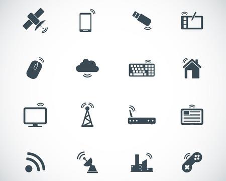 black wireless icons set Stock Vector - 22811159