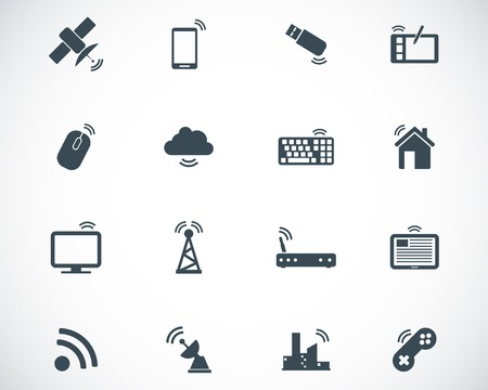 router: black wireless icons set