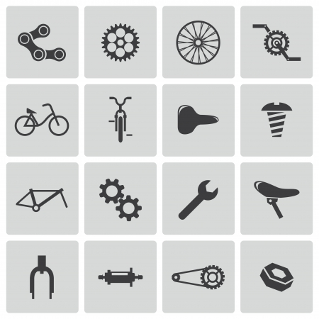 bike parts: Vector black bicycle part icons set