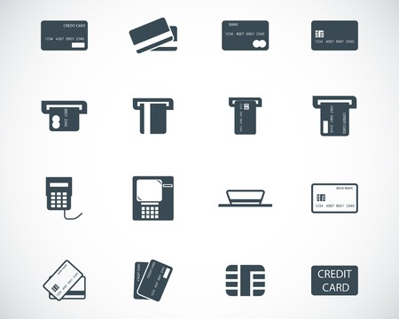 card payment: Vector black  credit cart  icons set Illustration