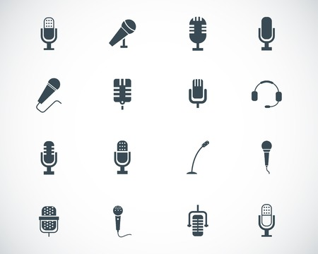 Vector black  microphone  icons set Illustration
