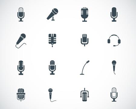 entrevista: Vector negro iconos de micr�fono establecen