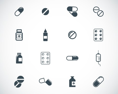 pastillas: Vector negro píldoras icon set