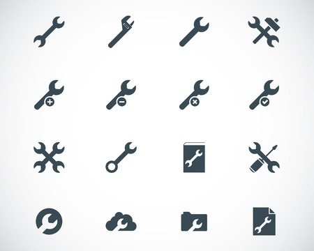 customized: Vector black  settings wrench   icons set