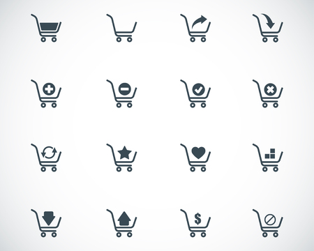Vector black  shopping cart  icons set Vector